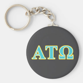 Alpha Tau Omega Blue and Yellow Letters Basic Round Button Keychain