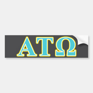 Alpha Tau Omega Blue and Yellow Letters Car Bumper Sticker
