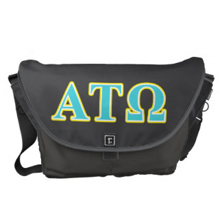 Alpha Tau Omega Blue and Yellow Letters Courier Bag