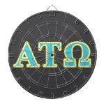Alpha Tau Omega Blue and Yellow Letters Dartboard