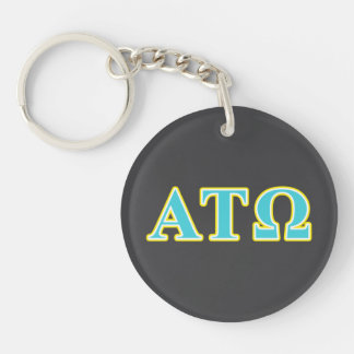 Alpha Tau Omega Blue and Yellow Letters Double-Sided Round Acrylic Keychain