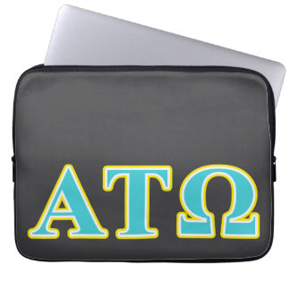 Alpha Tau Omega Blue and Yellow Letters Computer Sleeve