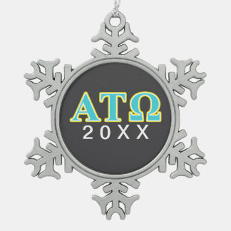 Alpha Tau Omega Blue and Yellow Letters Snowflake Pewter Christmas Ornament