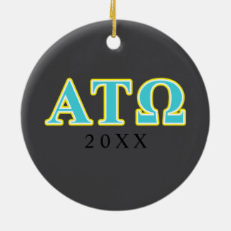 Alpha Tau Omega Blue and Yellow Letters Double-Sided Ceramic Round Christmas Ornament