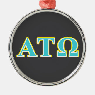 Alpha Tau Omega Blue and Yellow Letters Round Metal Christmas Ornament