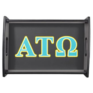 Alpha Tau Omega Blue and Yellow Letters Serving Platter