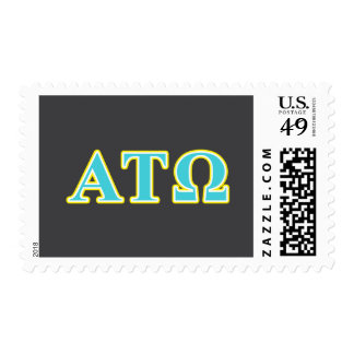 Alpha Tau Omega Blue and Yellow Letters Postage