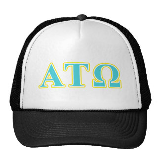 Alpha Tau Omega Blue and Yellow Letters Trucker Hat