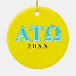 Alpha Tau Omega Blue Letters Ceramic Ornament