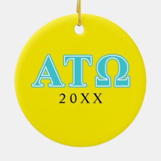 Alpha Tau Omega Blue Letters Ceramic Ornament