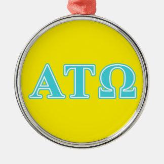 Alpha Tau Omega Blue Letters Round Metal Christmas Ornament