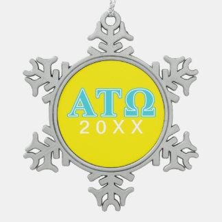 Alpha Tau Omega Blue Letters Snowflake Pewter Christmas Ornament