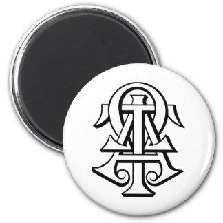 Alpha Tau Omega Interlocked Letters 2 Inch Round Magnet