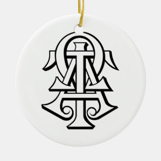 Alpha Tau Omega Interlocked Letters Ceramic Ornament