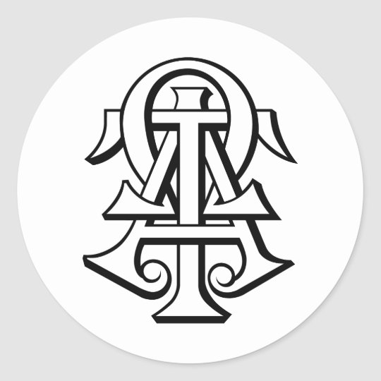Alpha Tau Omega Interlocked Letters Classic Round Sticker Zazzle