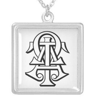 Alpha Tau Omega Interlocked Letters Square Pendant Necklace