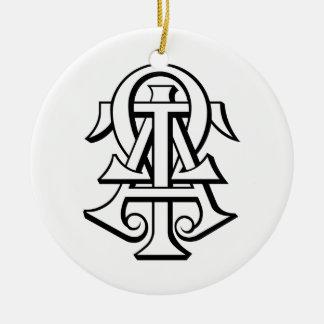 Alpha Tau Omega Interlocked Letters Christmas Tree Ornament