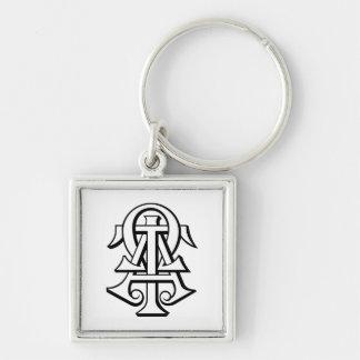 Alpha Tau Omega Interlocked Letters Silver-Colored Square Keychain