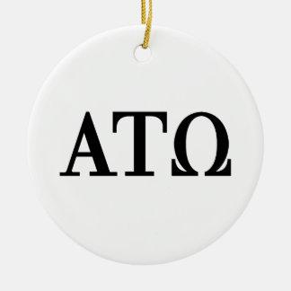 Alpha Tau Omega Letters Christmas Tree Ornament