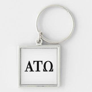 Alpha Tau Omega Letters Silver-Colored Square Keychain