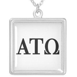 Alpha Tau Omega Letters Square Pendant Necklace