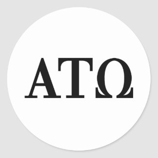 Alpha Tau Omega Letters Round Sticker
