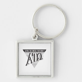 Alpha Tau Omega Name and Letters Silver-Colored Square Keychain