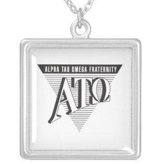 Alpha Tau Omega Name and Letters Square Pendant Necklace