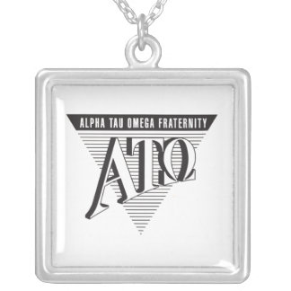 Alpha Tau Omega Name and Letters Silver Plated Necklace