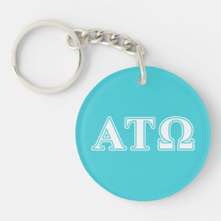 Alpha Tau Omega White and Blue Letters Double-Sided Round Acrylic Keychain