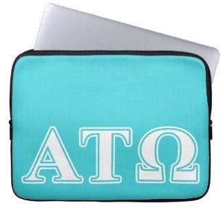 Alpha Tau Omega White and Blue Letters Computer Sleeve
