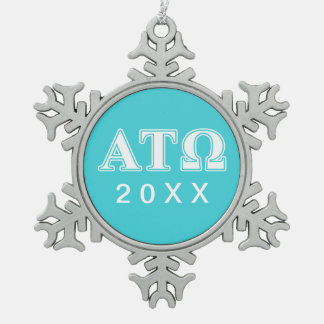 Alpha Tau Omega White and Blue Letters Snowflake Pewter Christmas Ornament