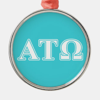 Alpha Tau Omega White and Blue Letters Round Metal Christmas Ornament