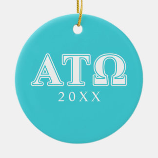 Alpha Tau Omega White and Blue Letters Double-Sided Ceramic Round Christmas Ornament
