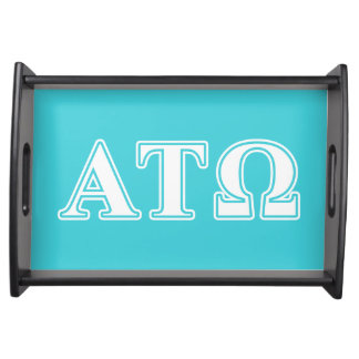Alpha Tau Omega White and Blue Letters Service Tray