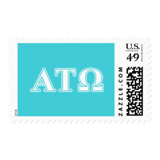 Alpha Tau Omega White and Blue Letters Postage