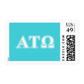 Alpha Tau Omega White and Blue Letters Postage