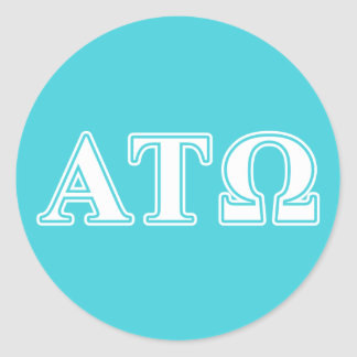 Alpha Tau Omega White and Blue Letters Classic Round Sticker