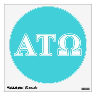 Alpha Tau Omega White and Blue Letters Wall Sticker