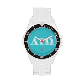 Alpha Tau Omega White and Blue Letters Wristwatches