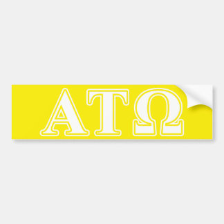Alpha Tau Omega White and Yellow Letters Car Bumper Sticker