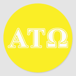 Alpha Tau Omega White and Yellow Letters Classic Round Sticker