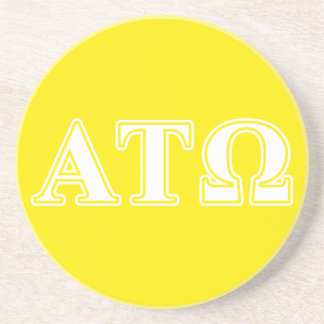 Alpha Tau Omega White and Yellow Letters Coasters