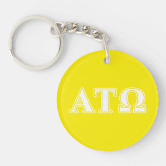 Alpha Tau Omega White and Yellow Letters Double-Sided Round Acrylic Keychain