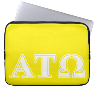 Alpha Tau Omega White and Yellow Letters Laptop Sleeve
