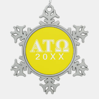Alpha Tau Omega White and Yellow Letters Snowflake Pewter Christmas Ornament