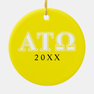 Alpha Tau Omega White and Yellow Letters Double-Sided Ceramic Round Christmas Ornament