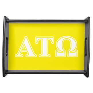 Alpha Tau Omega White and Yellow Letters Serving Platter