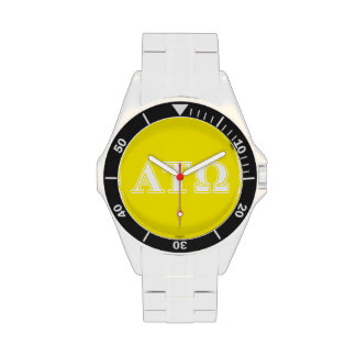 Alpha Tau Omega White and Yellow Letters Wristwatch