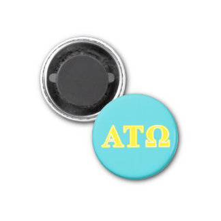 Alpha Tau Omega Yellow Letters 1 Inch Round Magnet